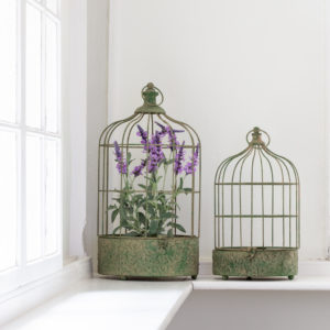 Hanging Metal Plant Cage Antique Green Set of 2