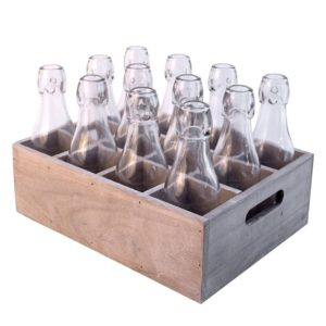 Wooden Box with 12 Bottles