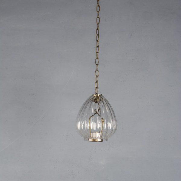 Hanging Glass Lantern Ribbed