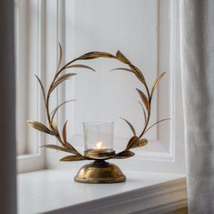 Candleholder Golden Laurel Leaf