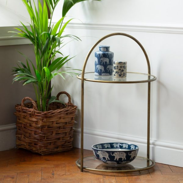 Round Antique Brass Side Table