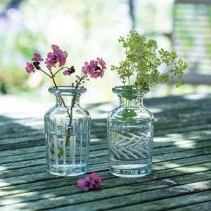 Bud Vases Vintage Etched Astd 2 Designs