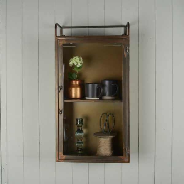 Wall Cabinet with Glass Door Antique Brass
