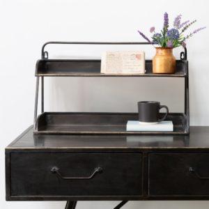 2 Shelf Desk Tidy Antique Black/Brass