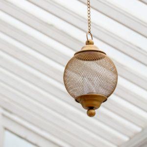 Hanging Globe Lantern Antique Brass