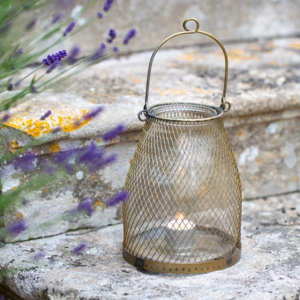 Mesh Hanging Lantern Antique Brass Large
