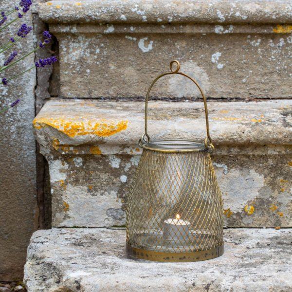 Mesh Hanging Lantern Antique Brass Small