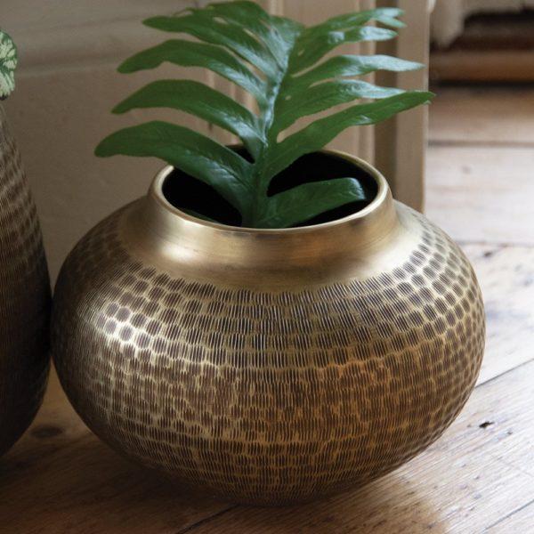 Planter Chinar Antique Brass