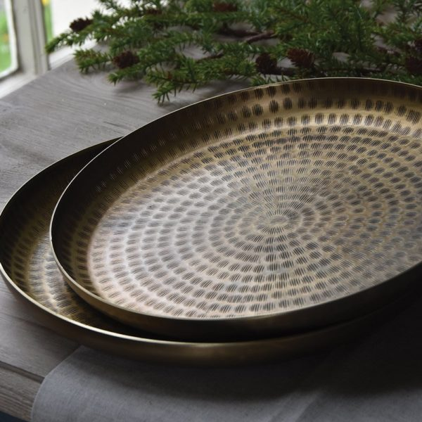 Round Tray Bali Antique Brass