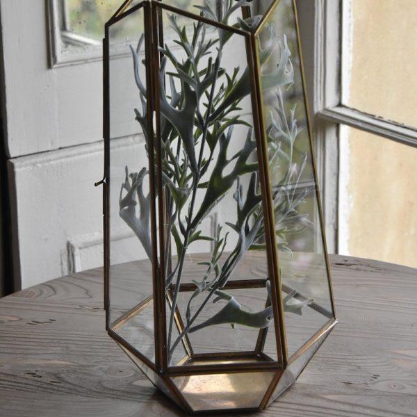 Glass Planter Tilli Antique Brass