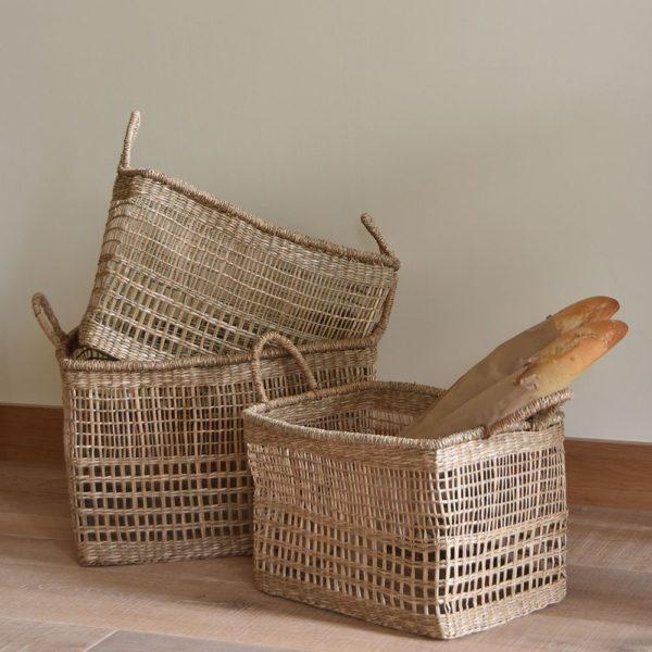 Seagrass Rectangular Basket W/Handles Set/3