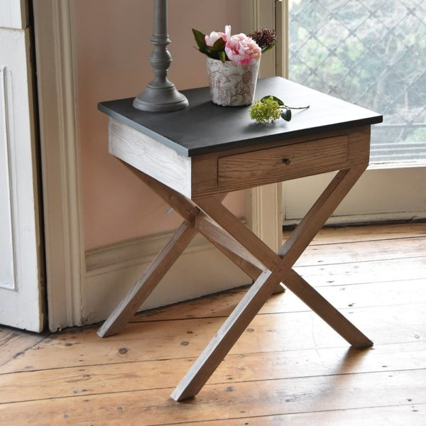 Side Table Natural Brushed Finish with Black Top
