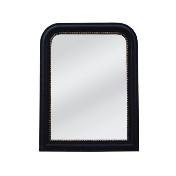 Vintage Mirror Black With Gold Rim Small
