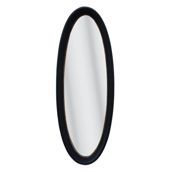 Tall Oval Mirror Antique Black With Gold