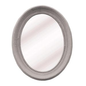 Oval Carved Mirror Soft Grey