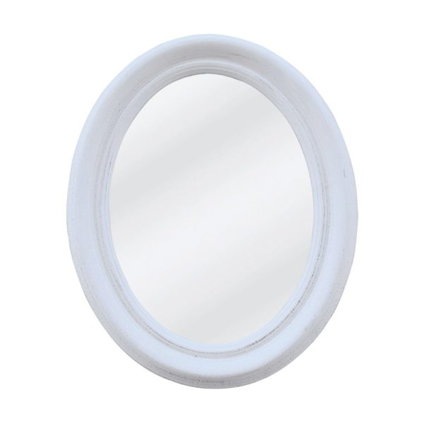Oval Chunky Mirror Antique White