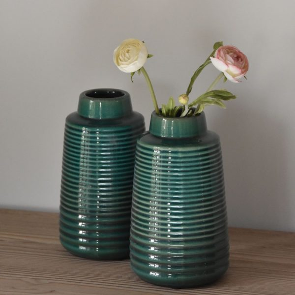 Ribbed Vase Green Small 13x22cm
