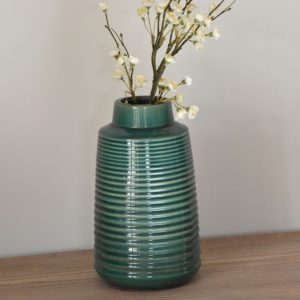 Ribbed Vase Green Large 16x27cm