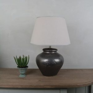 Ceramic Lamp Luna with Cream Shade