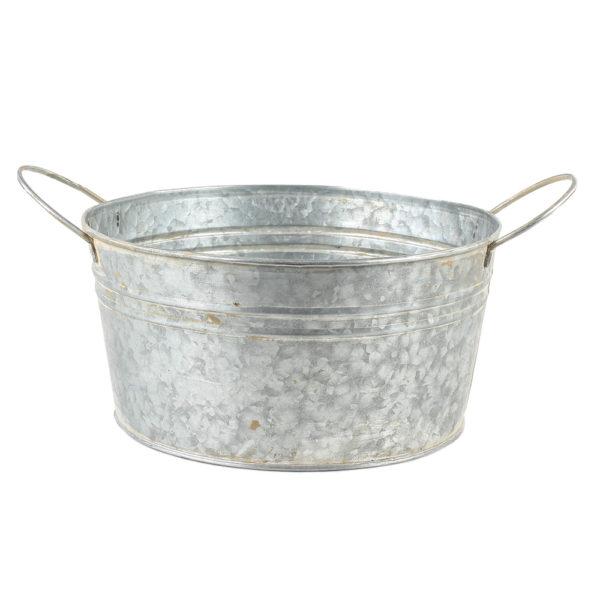 Zinc Round Bowl with Handles Large 24x12cm