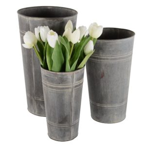Zinc Set of 3 Florist Buckets
