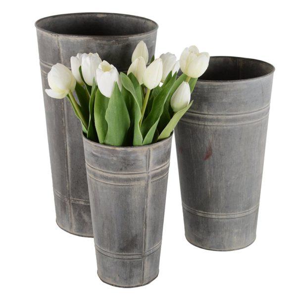 Zinc Set of 3 Florist Buckets