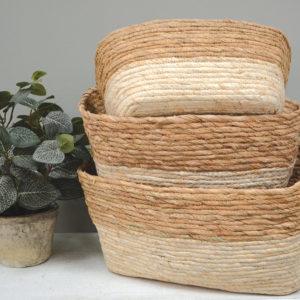 Seagrass Baskets Rectangular Two Tone Set of 3