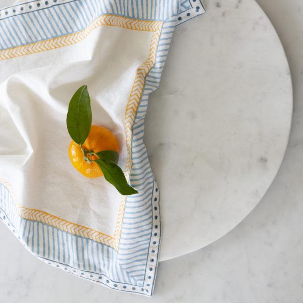 Gold Mimosa Napkin Cotton Hand Blocked