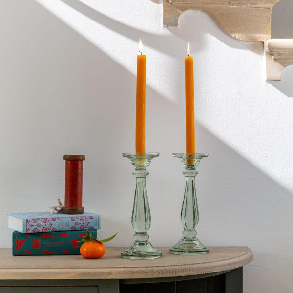 Glass Candlestick Tilbury Lt Green