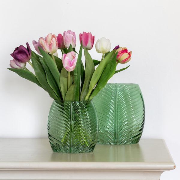 Leaf Glass Vase Green Small