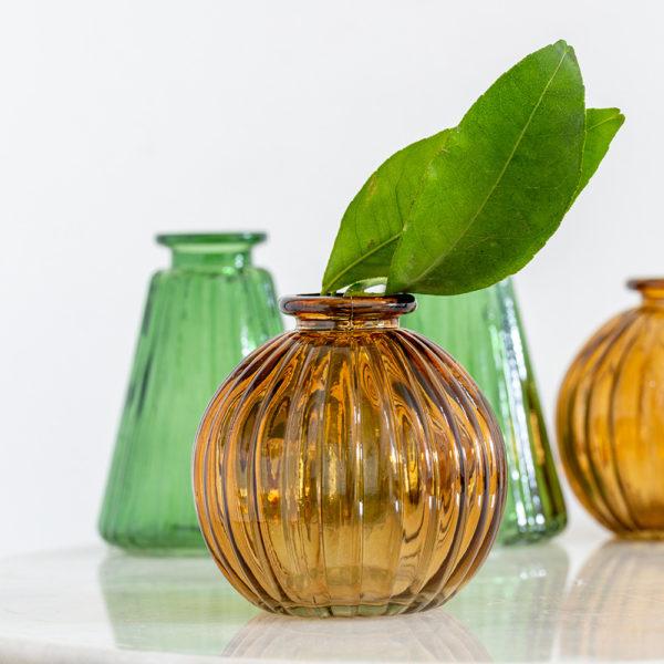 Glass Pumpkin Vase Amber