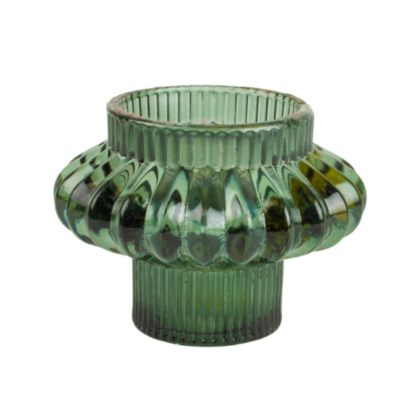 Glass Candleholder Large Duo Green