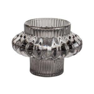 Glass Candleholder Large Duo Grey