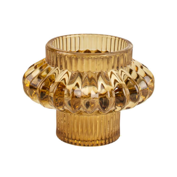 Glass Candleholder Large Duo Amber
