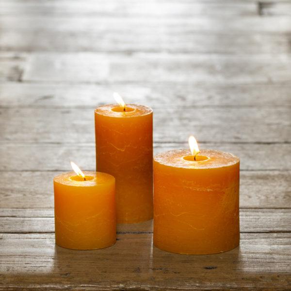 Rustic Pillar Candle Ochre