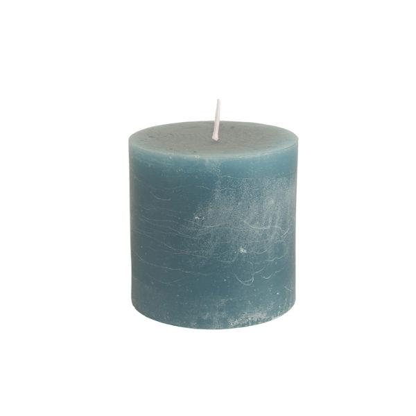 Rustic Pillar Candle Petrol Blue 100x100mm