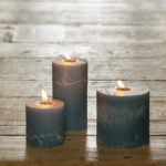 Rustic Pillar Candle Petrol Blue